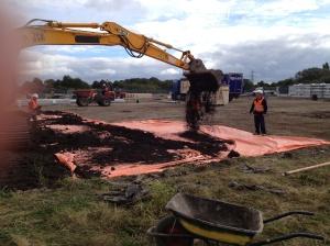 Laying topsoil