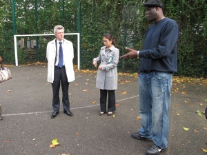 Carl Miller at Leyton Manor Park, making case for legacy funding