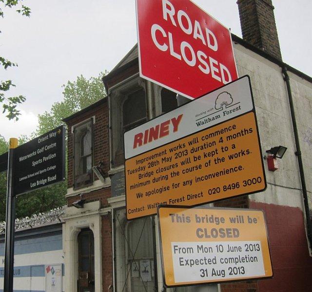 marsh lane bridge closed signs